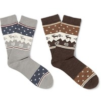 Neighborhood Two Pack Nordic Socks Gray