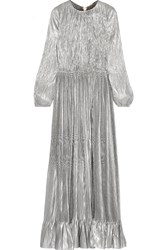 Adam By Adam Lippes Ruffled Plisse Silk Blend Lame Gown Silver Metallic