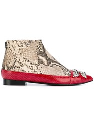 Toga Snakeskin Embossed Pointed Toe Ankle Boots Nude And Neutrals