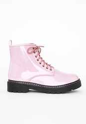 Missguided Lace Up Rubber Sole Boots Patent Pink Pink