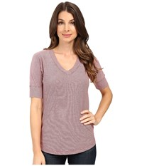 Mod O Doc Mini Stripe Dolman Sleeve V Neck Burgundy Women's T Shirt