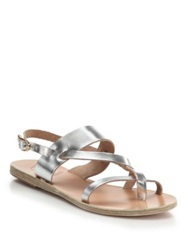 Ancient Greek Sandals Alethea Metallic Leather Flat Sandals Silver