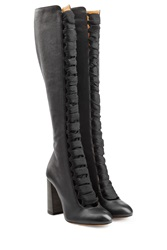 Chloe Over The Knee Lace Up Boots Black