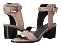 Sol Sana Porter Heel Studded Taupe Suede High Heels Brown