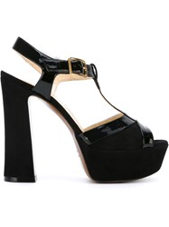 L'autre Chose Platform T Bar Sandals Black