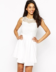 Max C London Max C Lace Top Skater Dress White