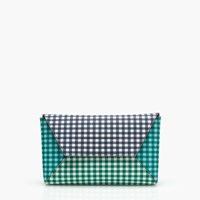 J.Crew Envelope Clutch In Gingham Patchwork Emerald Navy