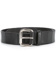Orciani Textured Stripe Buckle Belt Black