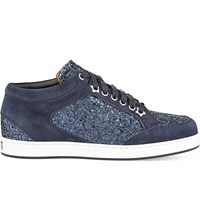 Jimmy Choo Miami Crackled Glitter And Suede Trainers Navy