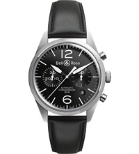Bell And Ross Br126 Vintage Original Satin Steel And Leather Chronograph Watch Black