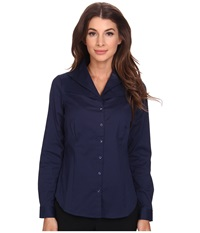 Nydj Fit Solution Double Shawl Collared Blouse Knight Blue Women's Long Sleeve Button Up