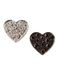 Black And White Diamond Mini Heart Stud Earrings Kacey K Gold White Black