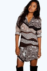 Boohoo Paisley Shirt Dress Chocolate