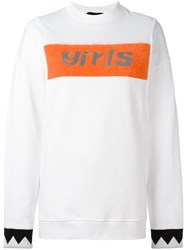 Alexander Wang T By Embroidered Girls Panel Sweatshirt White