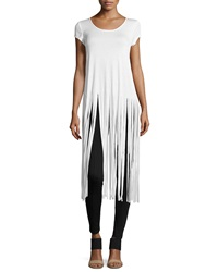 Romeo And Juliet Couture Fringe Trim Side Slit Tee Ivory