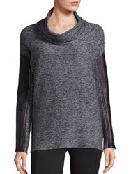 Blanc Noir Leather Trim Cowlneck Sweater Heather Charcoal