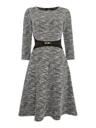 Episode 3 4 Sleeve Fit And Flare Dress Black And Ivory Black And Ivory