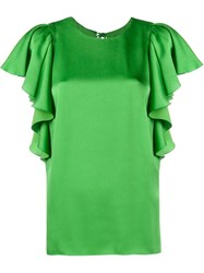 Lanvin Ruffle Silk Blouse Green