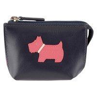 Radley Heritage Dog Small Leather Coin Purse Navy