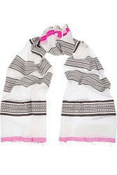 Lemlem Samara Striped Cotton Blend Scarf White