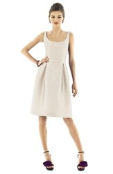 Women's Alfred Sung Scoop Neck Dupioni Fit And Flare Dress Champagne