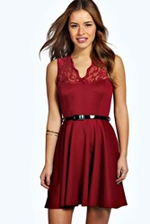 Boohoo Lizzie Scallop Lace Belted Skater Dress Wine