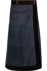 Sea Suede Wrap Midi Skirt Blue