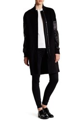 Mackage Genuine Leather Accent Wool Blend Coat Black