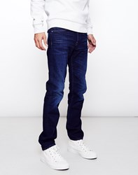 Edwin Ed 80 Slim Tapered Night Blue Denim Dark Trip Used Navy