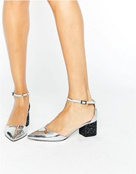 Asos Show Up Pointed Glitter Heels Silver