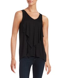 Kensie Ruffled Tank Top Black