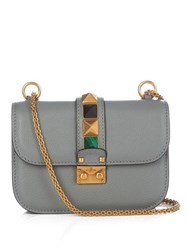 Valentino Lock Rolling Small Leather Shoulder Bag Light Grey