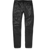 Rick Owens Detroit Slim Fit Leather Trousers Black