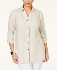 Jm Collection Woman Jm Collection Plus Size Button Down Linen Shirt Only At Macy's Jmc Flax
