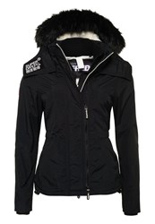 Superdry Hooded Fur Sherpa Wind Attacker Black White