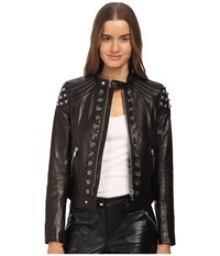 Red Valentino Leather With Grommets And Sphere Moto Jacket Nero