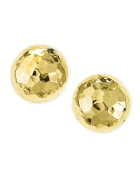 Post Hammered Gold Plated Half Ball Stud Earrings Nest Jewelry