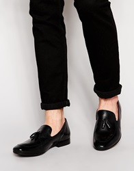 Base London Larkin Leather Tassle Loafers Black