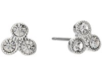 Lauren Ralph Lauren Social Set Triple Stone Stud Earrings Crystal Silver Earring