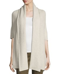 Neiman Marcus Cozy Ribbed Wrapped Cardigan Light Beig