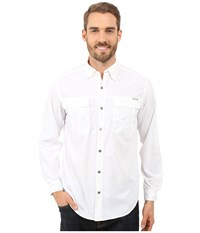Exofficio Bugsaway Halo Check Long Sleeve Top White Men's Long Sleeve Button Up