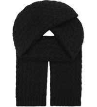 Johnstons Quilted Cashmere Scarf Black