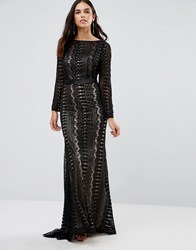 Forever Unique Audrey Long Sleeve Embelished Maxi Dress Black