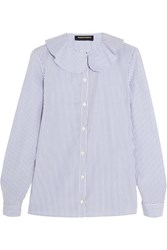 Vanessa Seward Candy Striped Cotton Poplin Blouse White