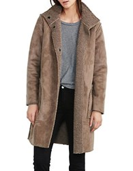 Velvet By Graham And Spencer Faux Fur Faux Suede Coat Grey