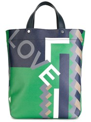 Salvatore Ferragamo Love Geometric Print Tote Blue