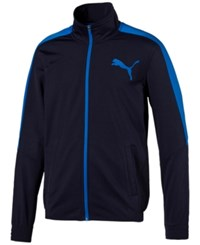 Puma Men's Contrast Zippered Track Jacket Navy Blue