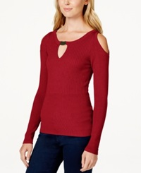 Xoxo Juniors' Cold Shoulder Mixed Knit Sweater Red