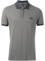 Armani Jeans Logo Patch Polo Shirt Grey