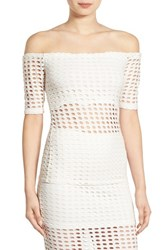 Kendall Kylie Women's Laser Cut Off The Shoulder Top
